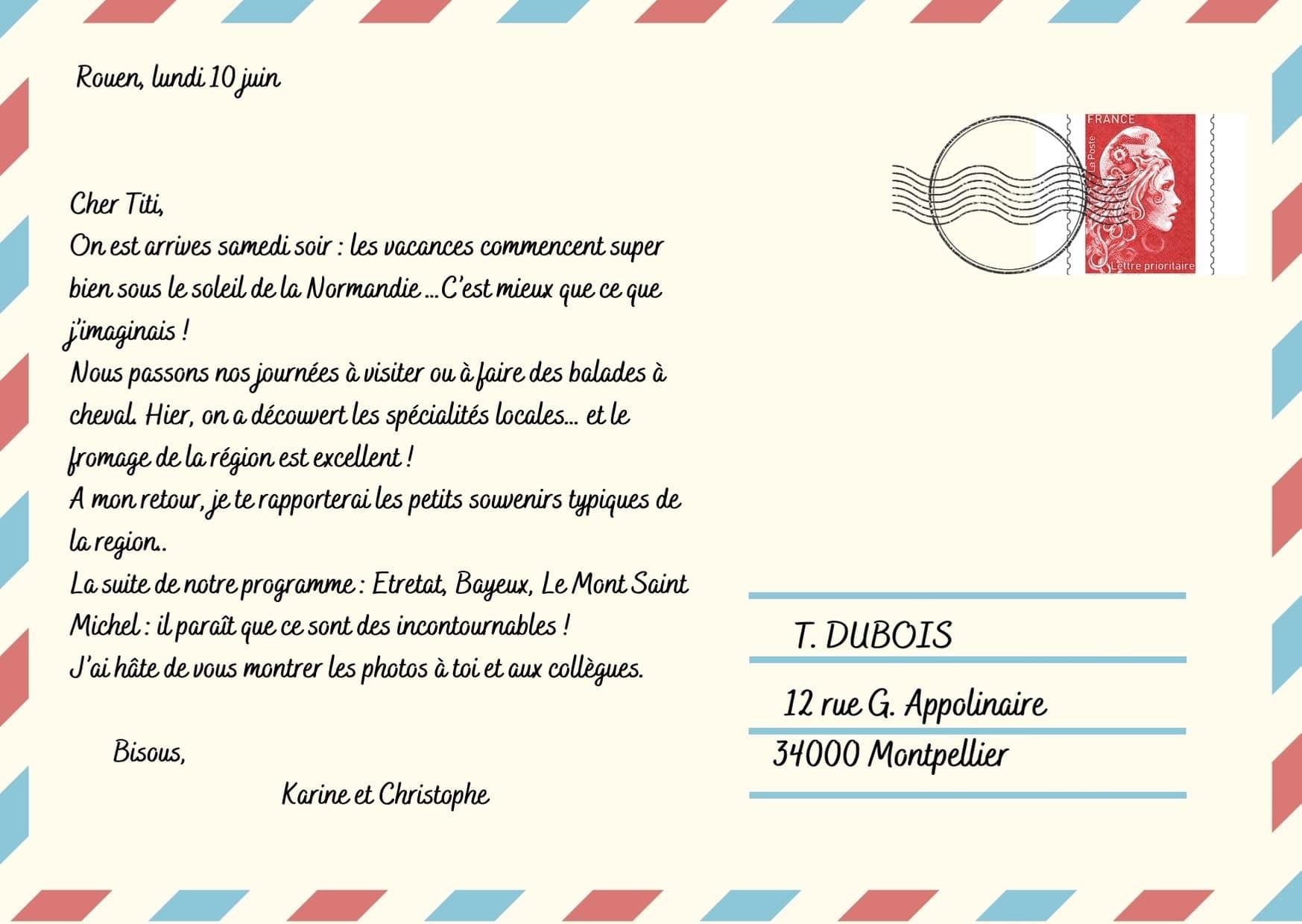 Test de niveau français - Carte postale