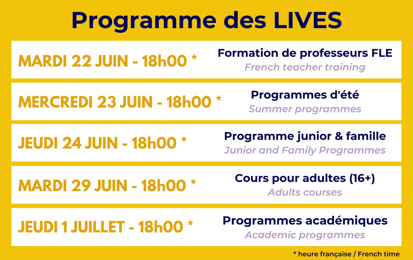 Programme Lives Accent Français
